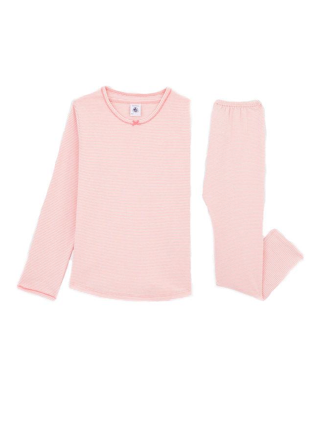 Petit Bateau Pyjama Ringelmuster rosa weiß für kleine Mädchen