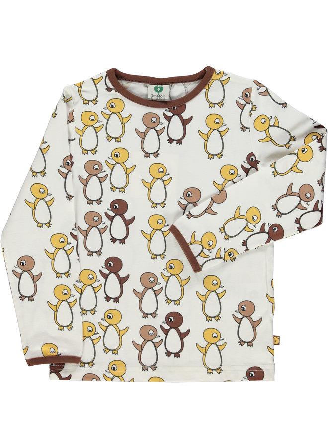 SMAFOLK Langarmshirt  mit  allover Baby Pinguine creme