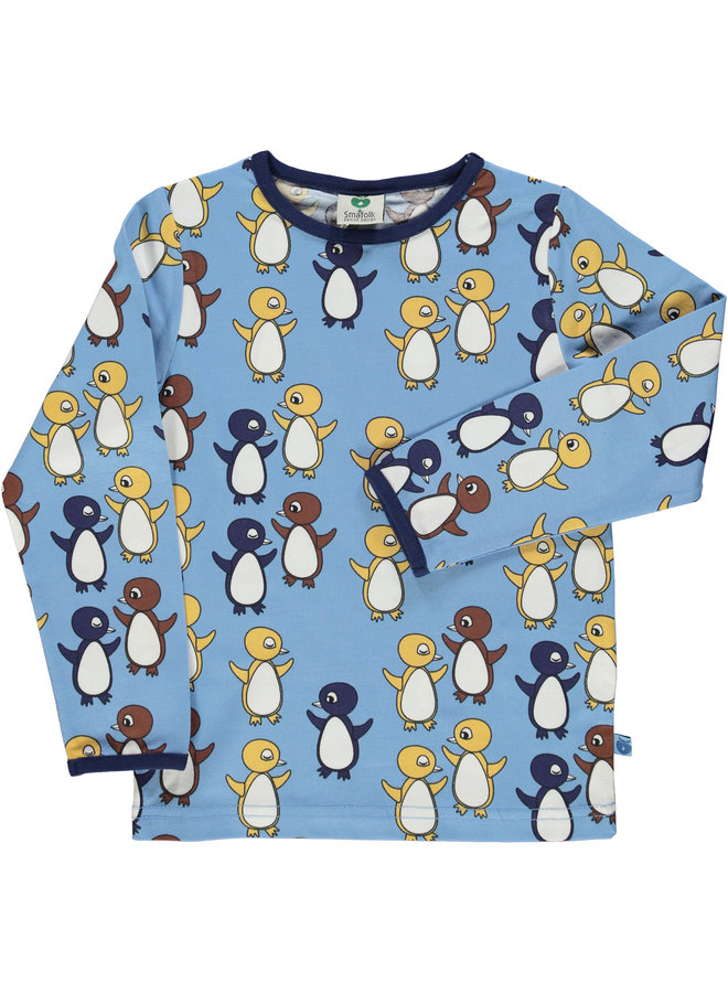 SMAFOLK Langarmshirt allover Baby Pinguine hellblau