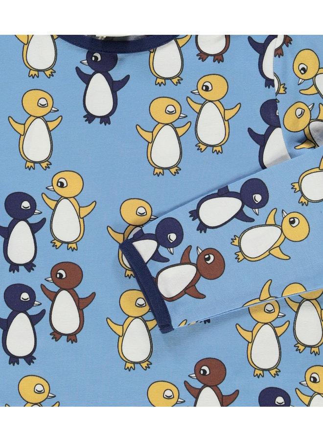 SMAFOLK Langarmshirt  mit  allover Baby Pinguine hellblau