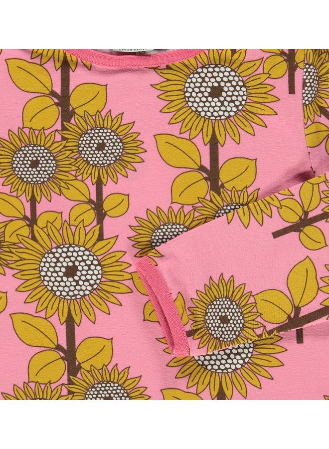 SMAFOLK Langarmshirt  mit  allover Sonnenblumen rosa