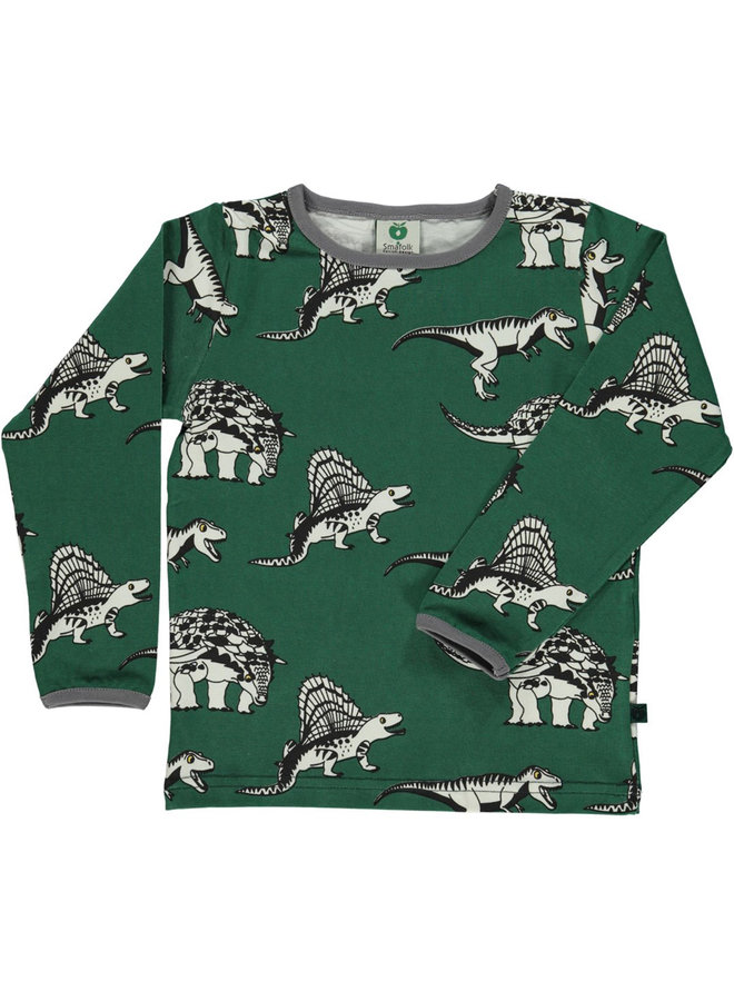 SMAFOLK Langarmshirt allover Dino dunkelgrün