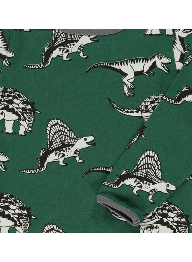 SMAFOLK Langarmshirt  mit Dino dunkelgrün / hunter green
