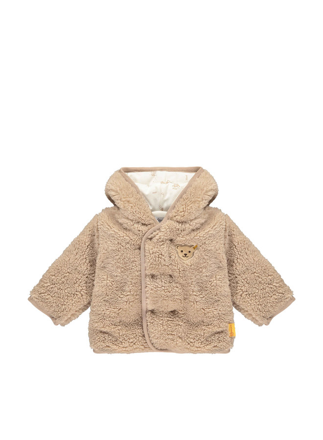 Steiff Baby Fleecejacke beige aus  plüschigem Teddy-Fleece