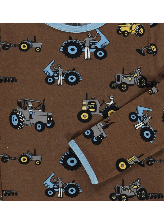 SMAFOLK Langarmshirt  mit  allover Traktor braun bison