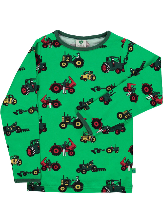 SMAFOLK Langarmshirt allover Traktor grün