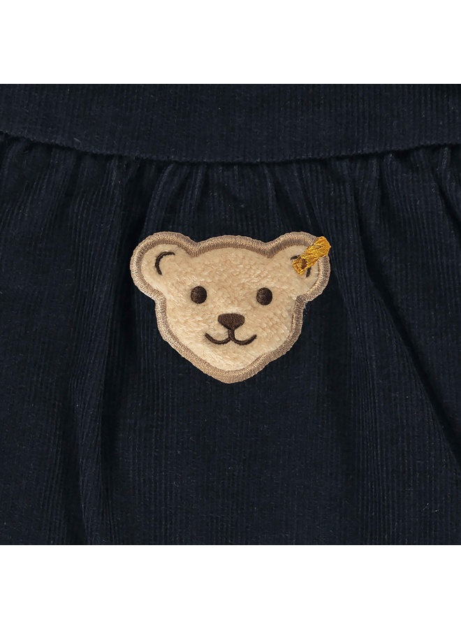 Steiff Baby Kleid marine blau Feincord mit Teddy-Applikation