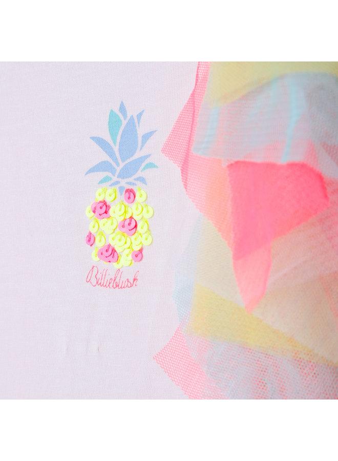 Billieblush T-Shirt mit Pailletten Ananas und bunten Volants