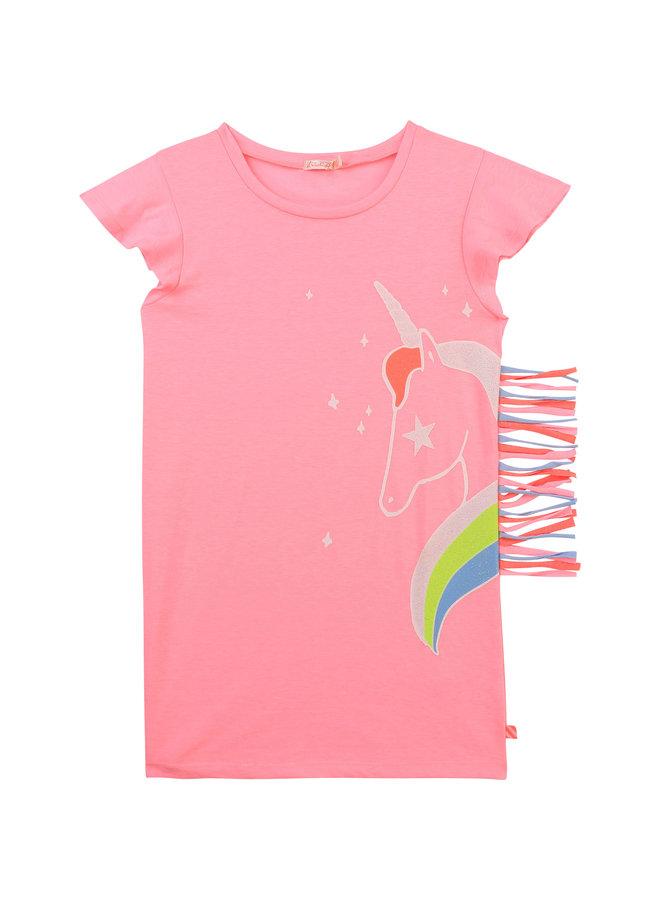 Billieblush Shirtkleid Kleid Einhorn rosa mit Fransen