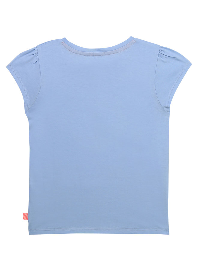 Billieblush T-Shirt mit Pailletten Delphin und Regenbogen hellblau