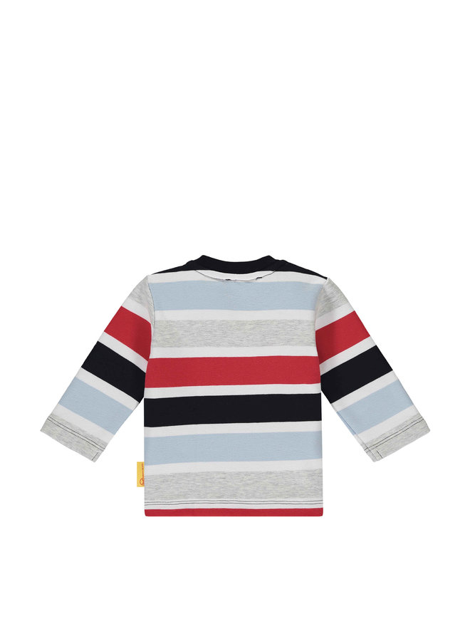 Steiff Baby Sweatshirt blau rot grau mit Teddy Patch