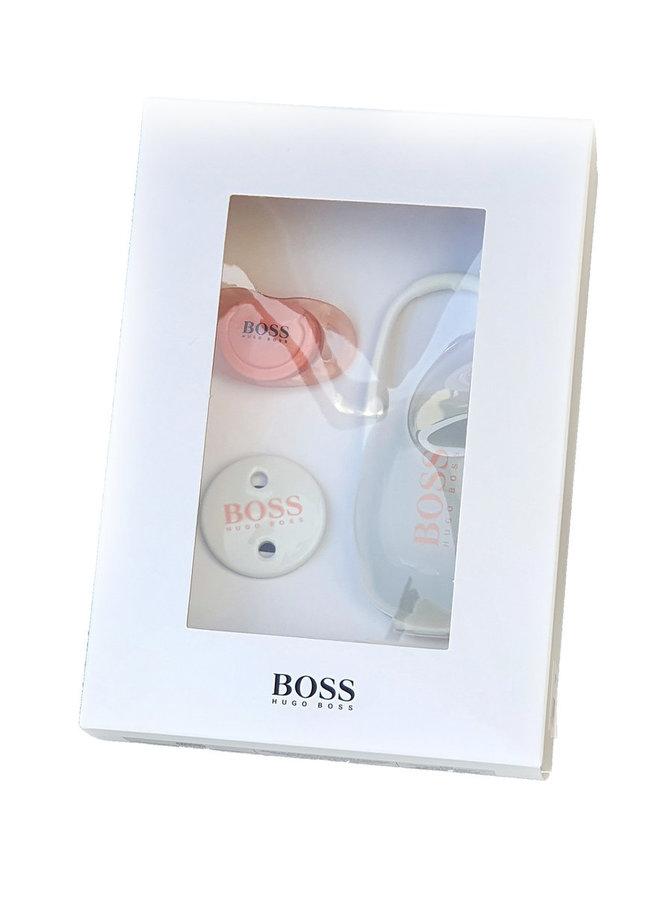 HUGO BOSS Schnullerset mit Box und Schnullerband rosa