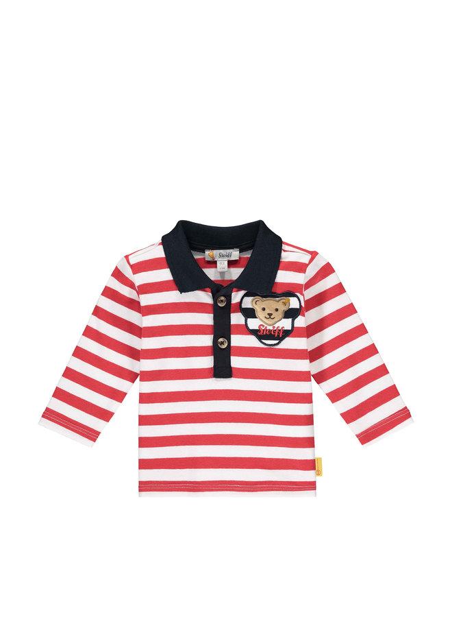 Steiff Baby langam Poloshirt rot weiß gestreift