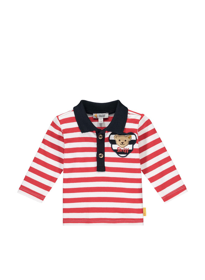 Steiff Baby langarm Poloshirt rot weiß gestreift Teddy