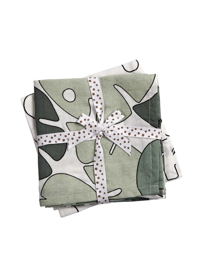 Done By Deer Musselin Swaddle Tiny tropics Green 2 er pack