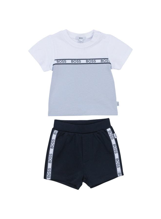 HUGO BOSS Baby Kombination weiß hellblau T-Shirt und Shorts