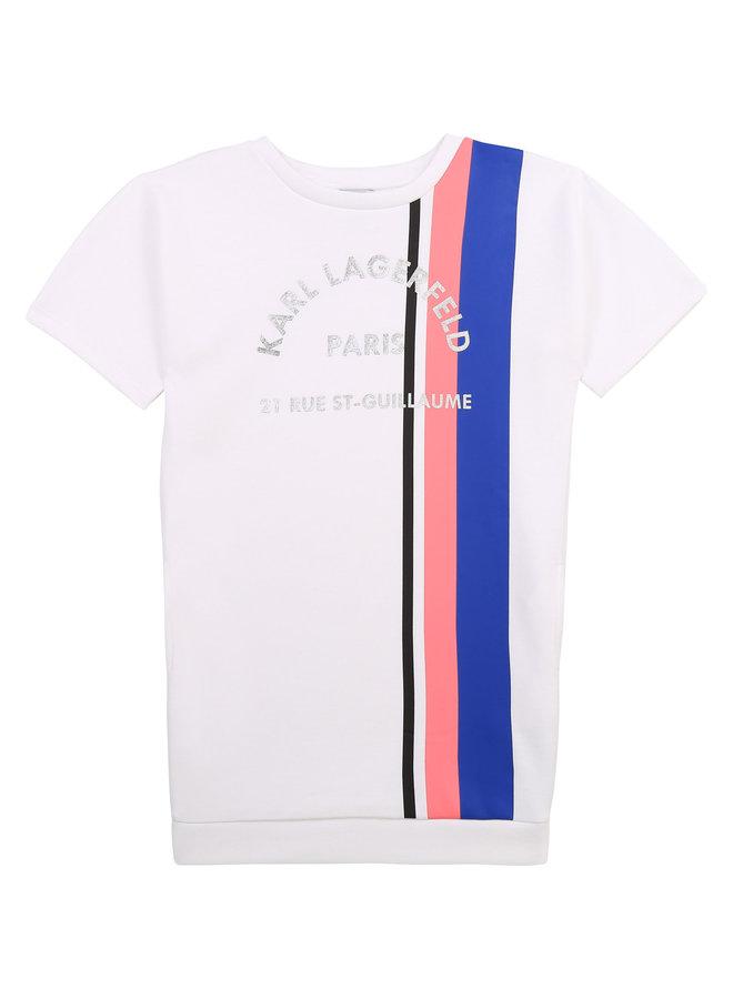 KARL LAGERFELD KIDS Sweatshirt Kleid weiß rosa  blau