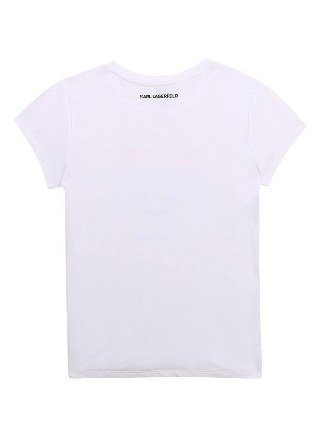 KARL LAGERFELD KIDS T-Shirt weiß Pixel iconic Chaupette