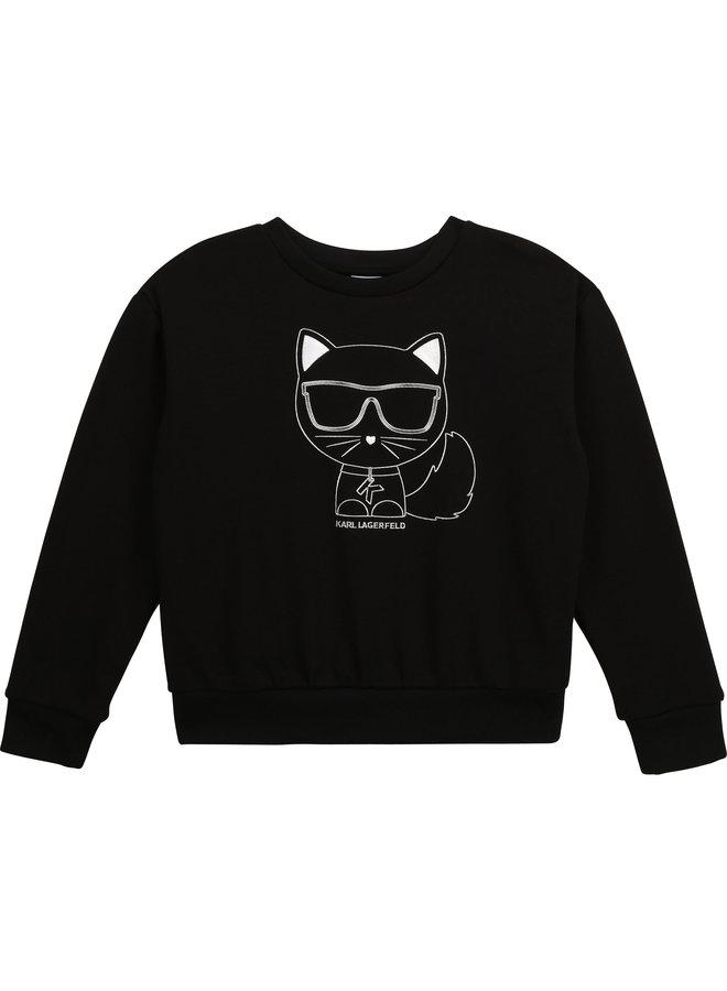 KARL LAGERFELD KIDS Sweatshirt Choupette mit silberfarbenem Print