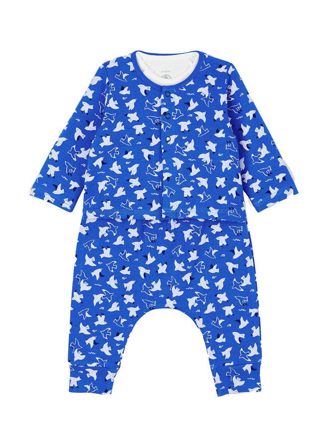 Petit Bateau Kombination 3 Teile blau Body und Hose Cardigan