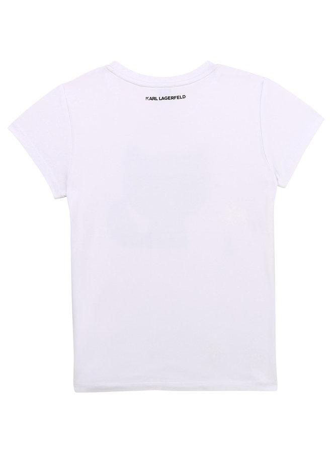 KARL LAGERFELD KIDS T-Shirt weiß Pixel iconic Choupette Strass