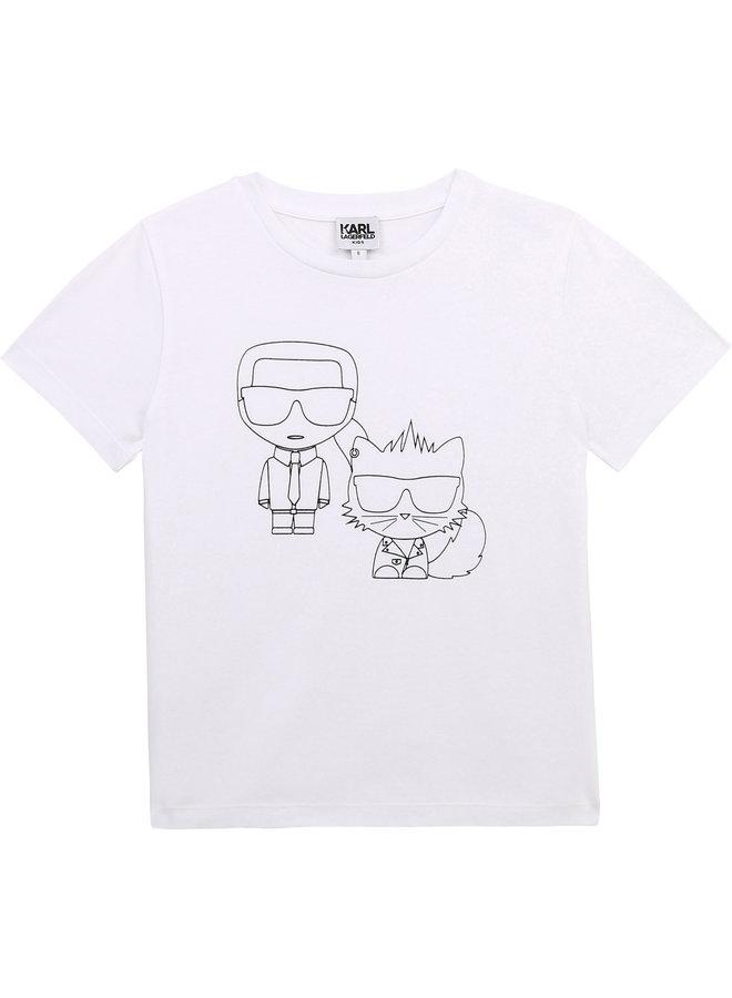 KARL LAGERFELD KIDS T-Shirt weiß Bad Cat