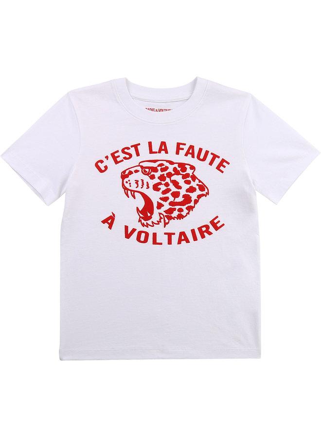 Zadig & Voltaire T-Shirt mit Flockprint Leopard weiß