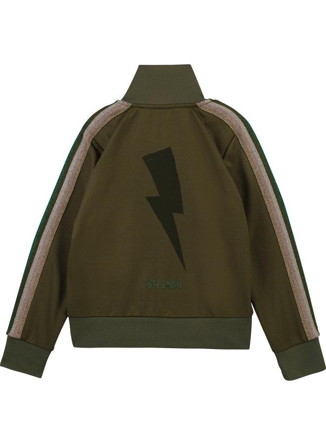 Zadig & Voltaire Trainingsjacke khaki mit Streifen
