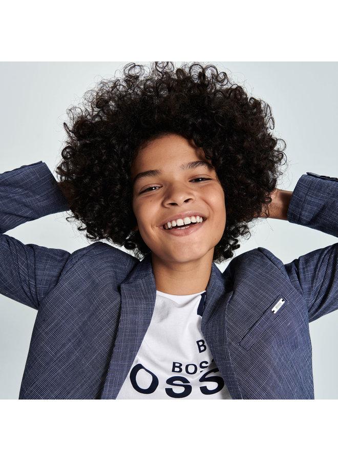 HUGO BOSS Kinder T-Shirt weiß allover Logoprint