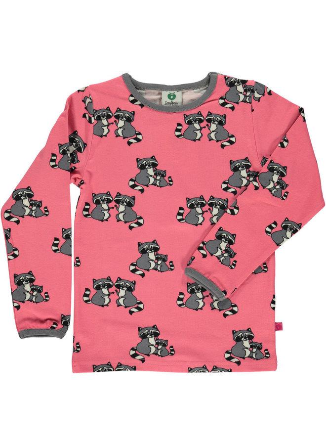 SMAFOLK Langarmshirt  mit  allover Waschbär rosa