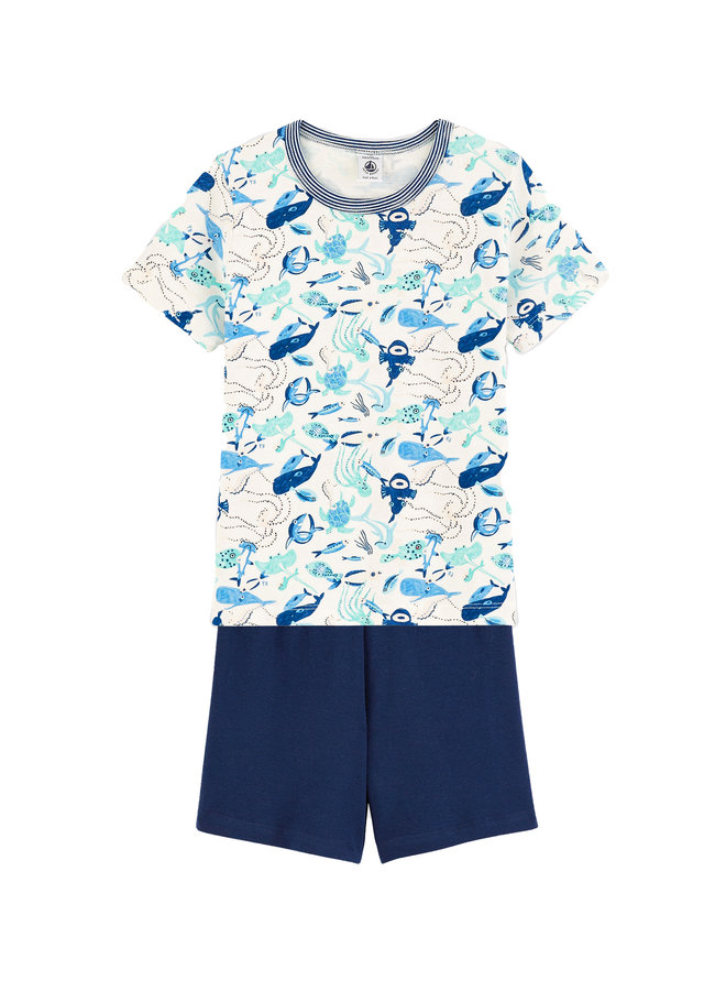 Petit Bateau kurz Pyjama blau weiß mit Print allover Meerestiere