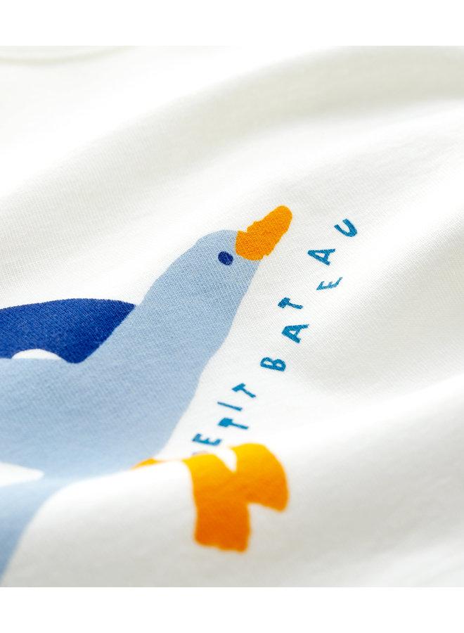 Betit Bateau T-Shirt creme mit großem Möwen Print