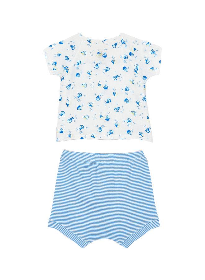 Petit Bateau supersüßes Set 2 Teile kurze Hose und Shirt