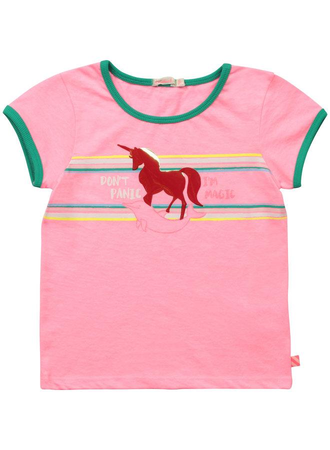 Billieblush T-Shirt mit pink mit Einhorn und Delphin irisierend