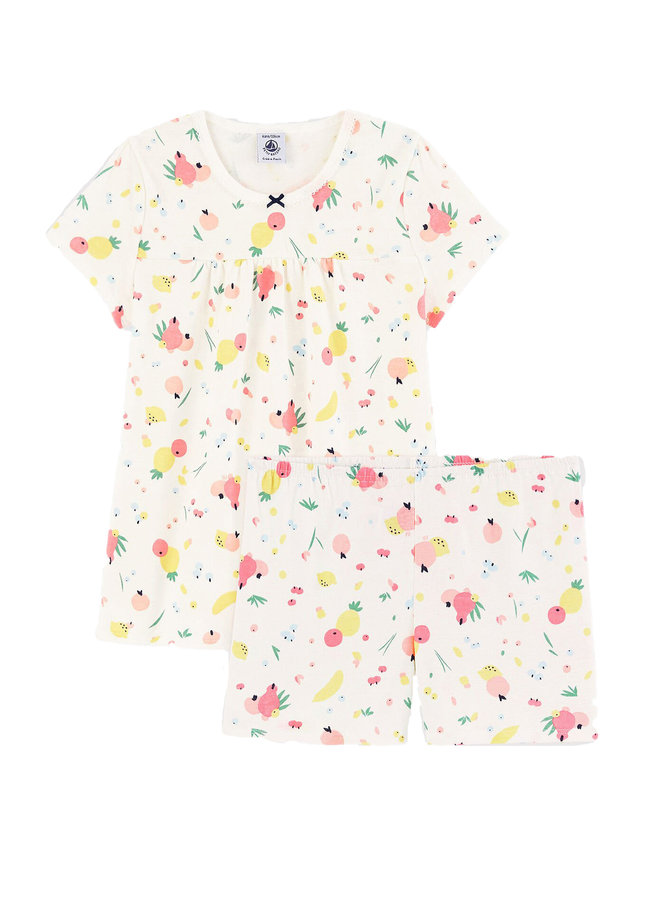 Petit Bateau kurz Pyjama creme mit Print allover Früchte
