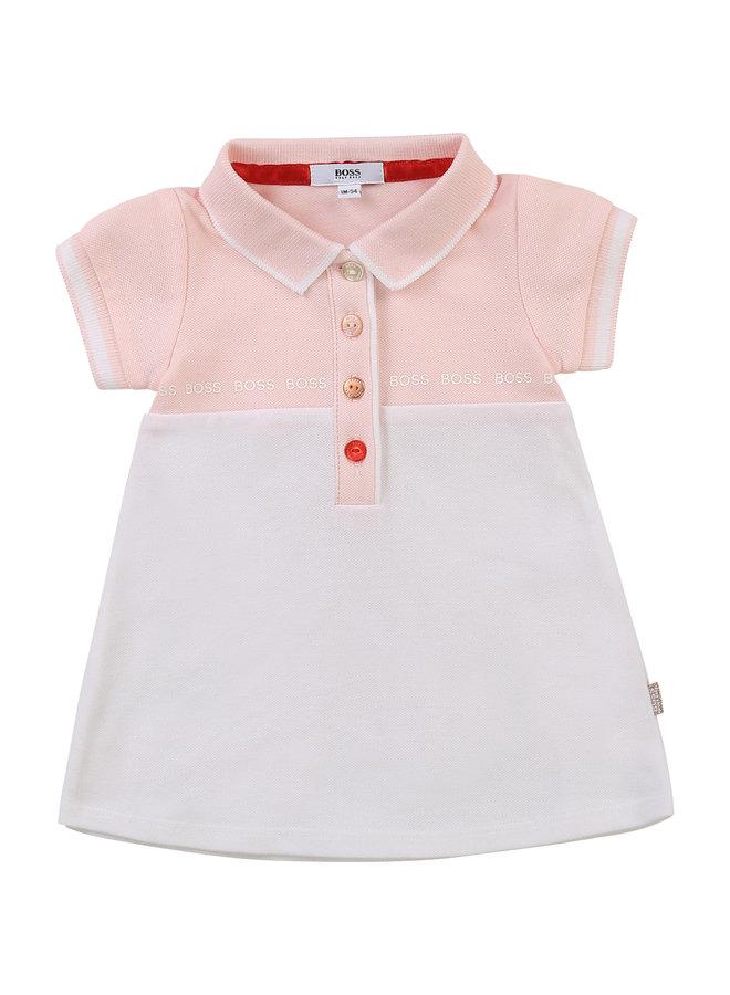 HUGO BOSS Baby Polokleid Kleid rosa weiß rosegold