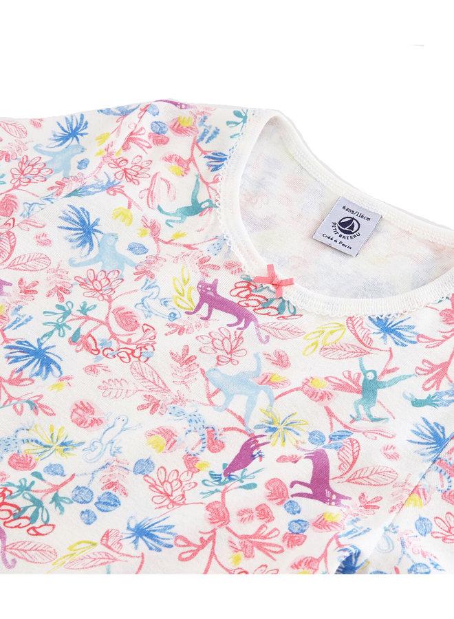 Petit Bateau Nachthemd weiß mit lustigem Dschungelprint