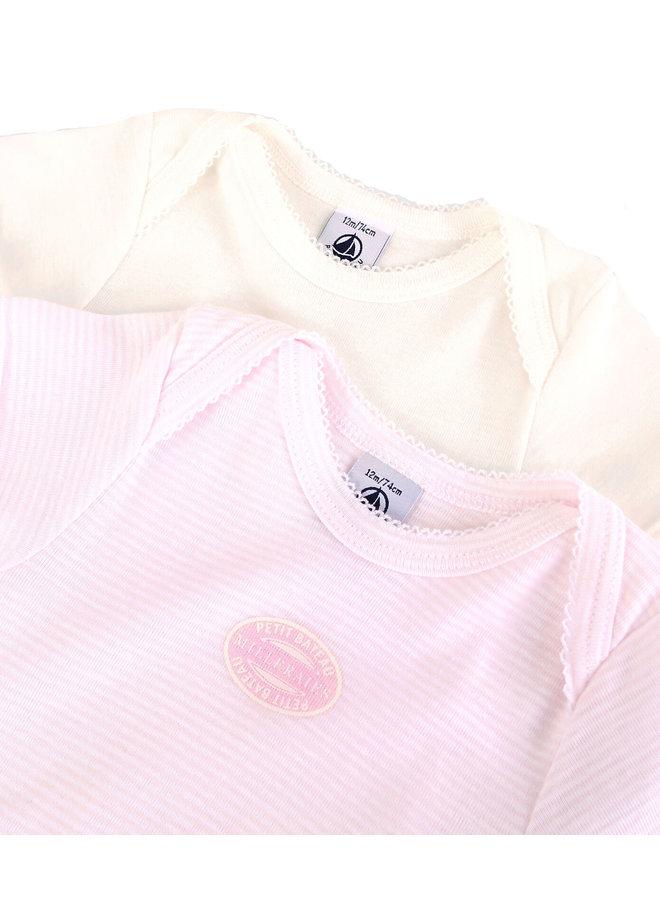 Petit Bateau Baby Bodyset  Mädchen 2 Teile rosa creme