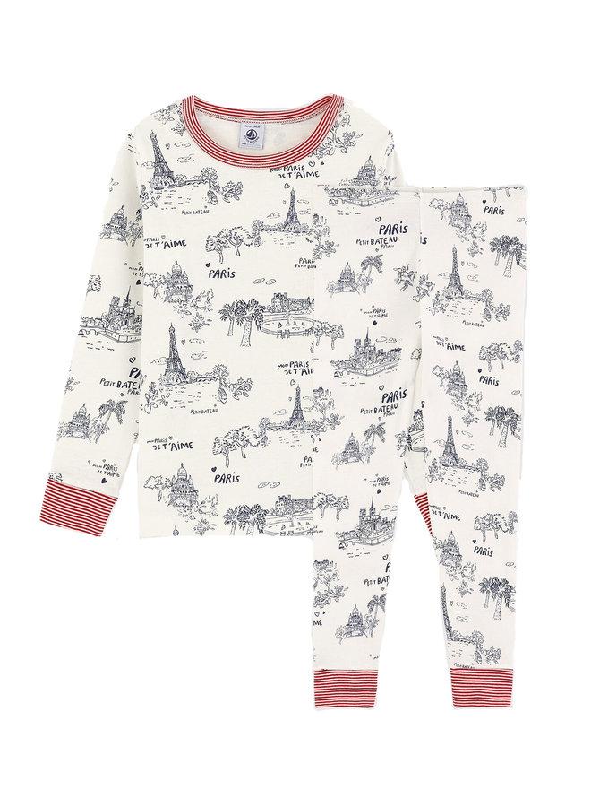 Petit Bateau Pyjama Paris Print creme blau