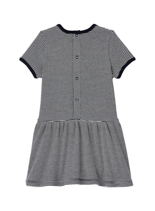 Petit Bateau Kleid gestreift kurzärmlig ikonisch blau weiß