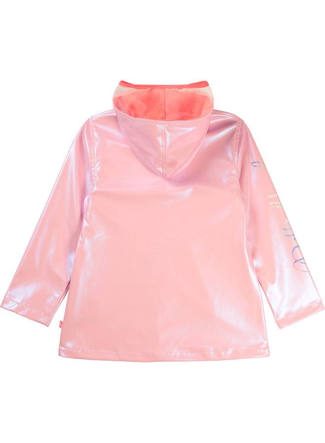 Billieblush Regenmantel rosa schimmernd mit Logo