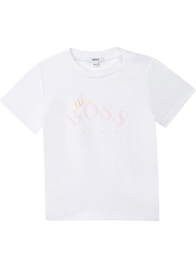 HUGO BOSS Baby T-Shirt Logo Little Boss weiß rosegold