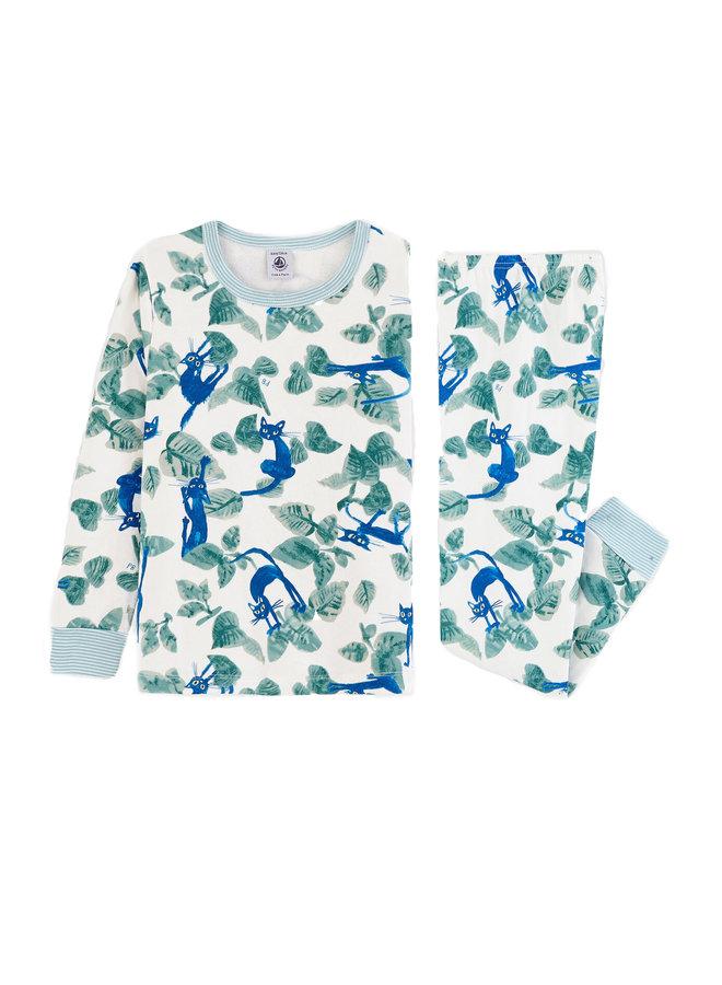 Petit Bateau Pyjama Katzen Print blau / grün