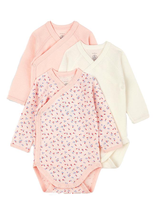 Petit Bateau Baby Bodyset  Mädchen  3 Teile rosa creme