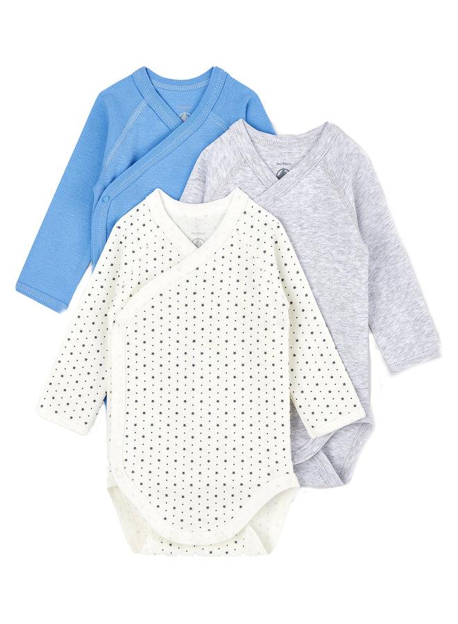 Petit Bateau Baby Bodyset  Jungen 3 Teile blau creme