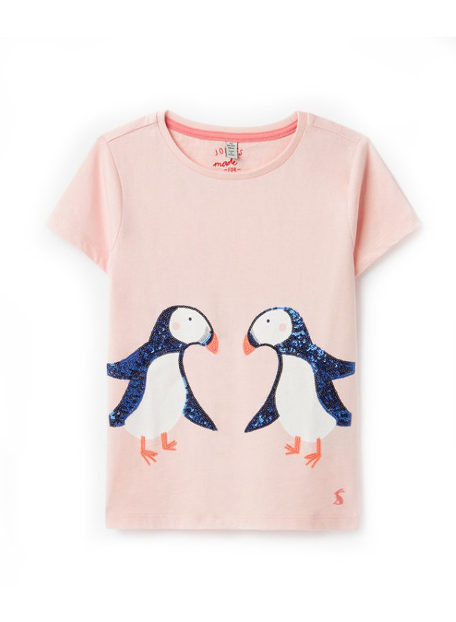 TOM JOULE T-Shirt Astra Pinguine Pailletten rosa