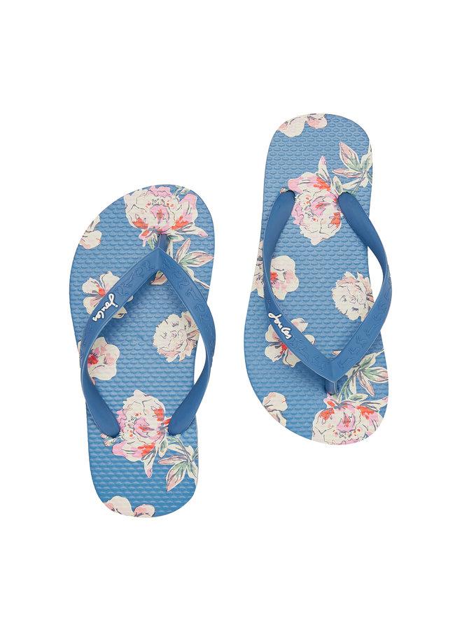 TOM JOULE Zehentrenner Sandalen Blumen blau