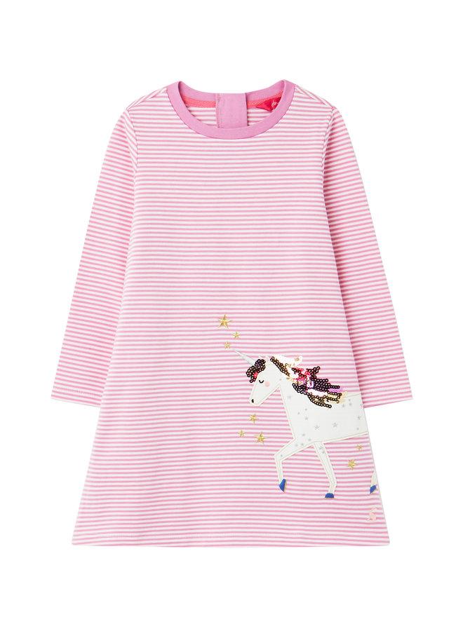 TOM JOULE Kleid Rosalee Einhorn gestreift rosa