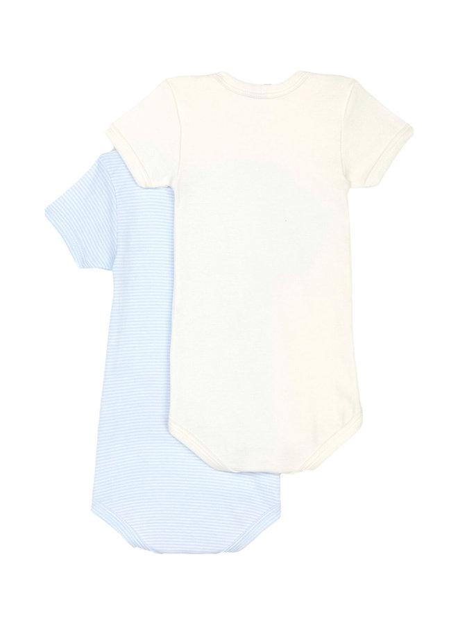 Petit Bateau Baby Bodyset  Jungen 2 Teile bleu creme