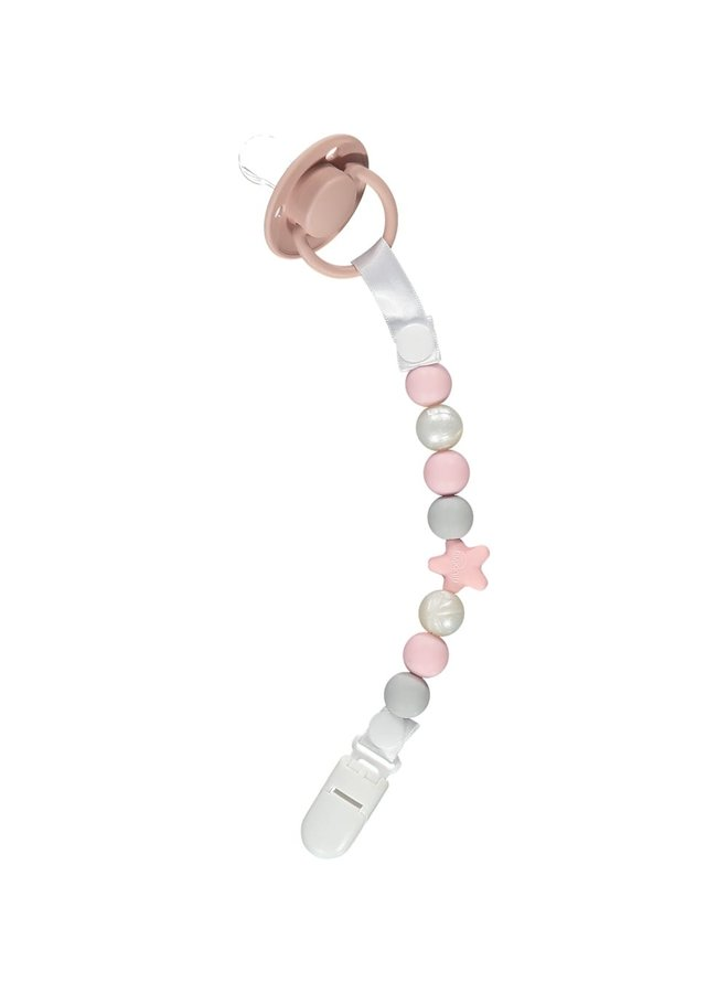 NIBBLING Schnullerkette Comet pink & pearl